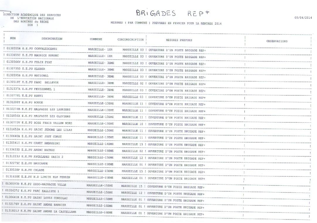 Carte scolaire des Bouches-du-Rhone pour la rentrée 2014 ...